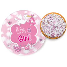 Geboorte Meisjes Bordjes It's a Girl 18cm - 8 stuks
