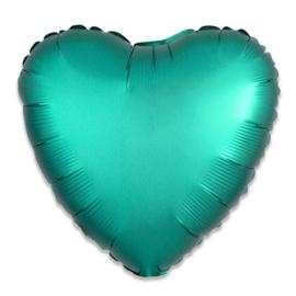 Folieballon hart satin jade (43cm)