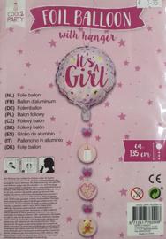 Folieballon Meisje Its A Girl! 45 cm met Hanger