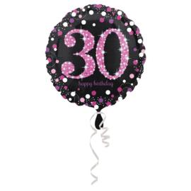 Folieballon 30 Jaar Sparkling Pink 45 cm