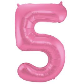 Cijfer 5 Roze Mat 86 cm