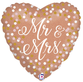 Folieballon Hart Mr & Mrs - 45 cm
