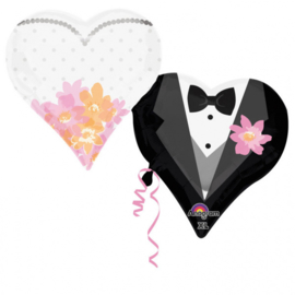 Folieballon SuperShape Wedding Couple Hearts - 63 cm