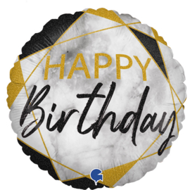 Folieballon Happy Birthday - Marble Black - 45 cm