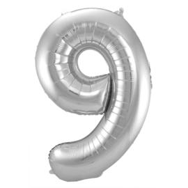 Cijfer 9 Zilver 86 cm