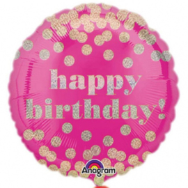 Folieballon Happy Birthday Dotty - 43 cm
