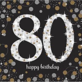 Glitterfeest 80 Jaar Servetten - 16 stuks