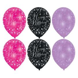 Ballonnen sparkling pink HBD (Ø28cm,6st)