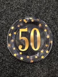50 Jaar Party Gold Borden - 8 stuks