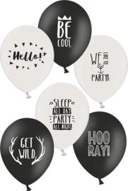 Ballonnen party  6 stuks verschillende teksten - 28 cm