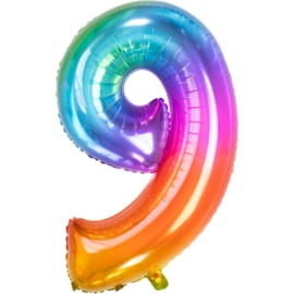Cijfer 9 Rainbow 86 cm