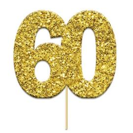 Cake topper 60 glitter goud (4cm, 12st)