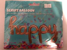 Folie Ballon Happy Rosé Goud 99 cm Leeg