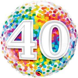40 Jaar Regenboog Confetti Folieballon - 45 cm