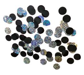 Confetti zwart/holographic ø2 cm - 15 gram