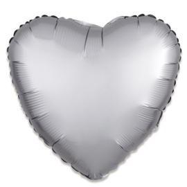 Folieballon hart satin platina (43cm)