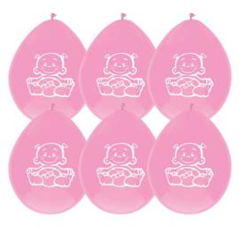 Ballonnen Baby Meisje Roze 30cm 6st