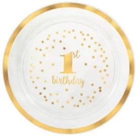 Serveerschaal eerste verjaardag plastic rond 40 cm