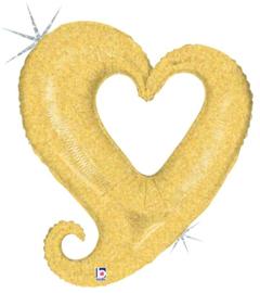 Folieballon chain of hearts gold - 94 cm