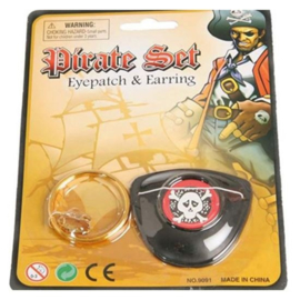 Piratenset ooglap + oorring