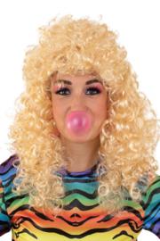 Pruik Lola lang krullend blond