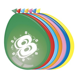 Ballonnen 8 jaar (Ø30cm, 8st)