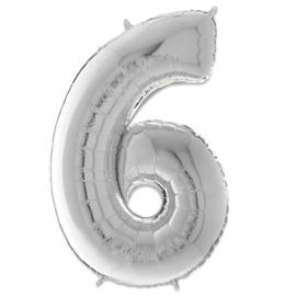 Cijfer 6 Zilver - 66 cm