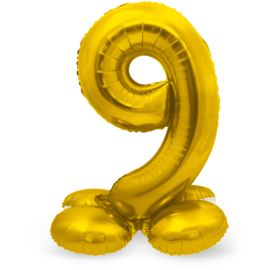 Folieballon met Standaard Cijfer 9 Goudkleurig - 72 cm
