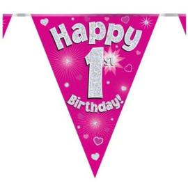 Vlaggenlijn Happy 1 ste Birthday Roze