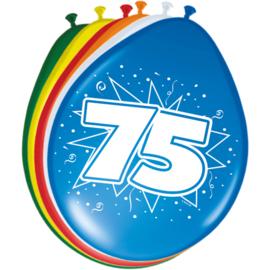75 Jaar Ballonnen 30 cm - 8 stuks