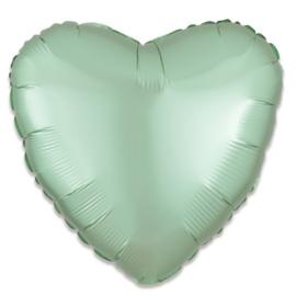 Folieballon hart satin mintgroen - 43 cm