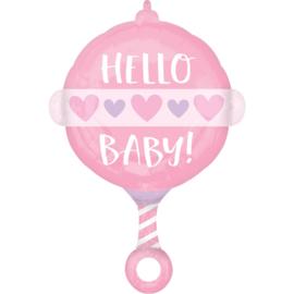 Folieballon Hello Baby Girl Rammelaar - 60 cm