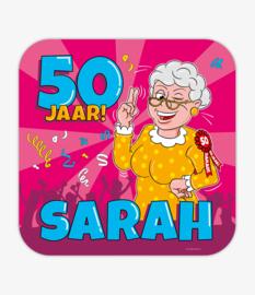 Huldeschild 50 Jaar Sarah Cartoon