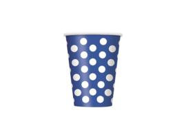 Blauwe met witte stippen bekertjes 6 st. 354 ml.