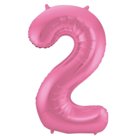 Cijfer 2 Roze Mat 86 cm