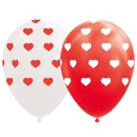 Ballonnen rood & wit met hartjes - 8 stuks