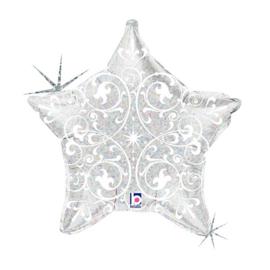 Folieballon ster zilver met opdruk - 53 cm