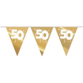 Vlaggenlijn 50 Goud / Wit - 10 meter