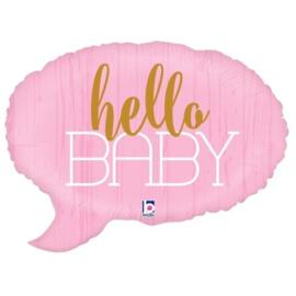 Folieballon Tekstwolk 'Hello Baby' Roze 61 cm