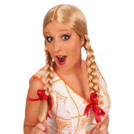 Pruik Greetje blond met vlechten en rode strikjes