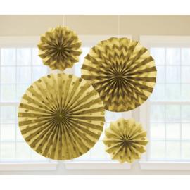 Gouden Papieren Glitter Waaier Decoraties