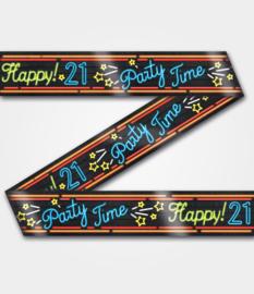 Neon Party tape - 21 jaar - 12 meter