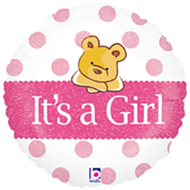Folieballon Geboorte It's a Girl Bear 45 cm