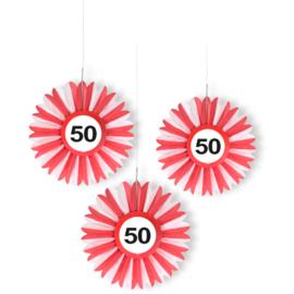 50 Jaar Verkeersbord Honeycomb Waaier - 3 stuks