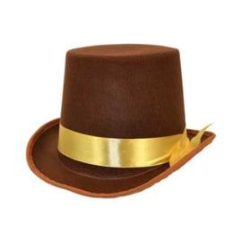 Hoge hoed vilt bruin