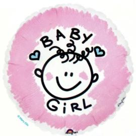 Folieballon geboorte baby Girl 45 cm