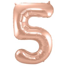 Cijfer 5 Rosé Goud - 86 cm