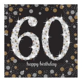 Glitterfeest 60 Jaar Servetten - 16 stuks