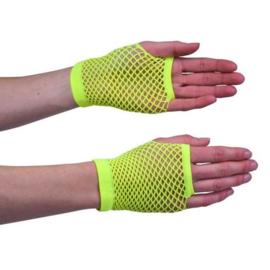 Nethandschoen kort fluor geel