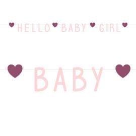 "Letterslinger Pink Hearts ""Hello Baby Girl"""